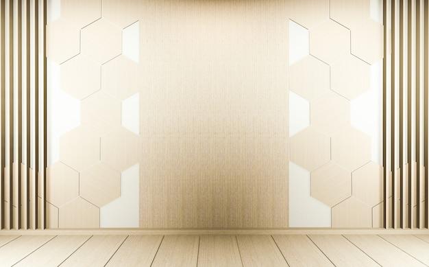 Hexagon tile wall on empty white room on wooden floor interior design. 3d rendering