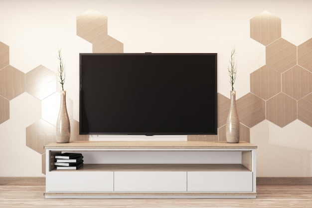 Hexagon tiles on wall and cabinet wooden japanese style design in room minimal l.3d rednering