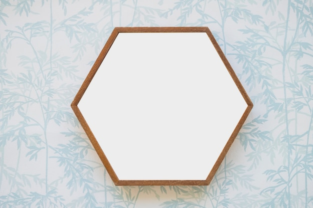 Hexagon white frame on wallpaper