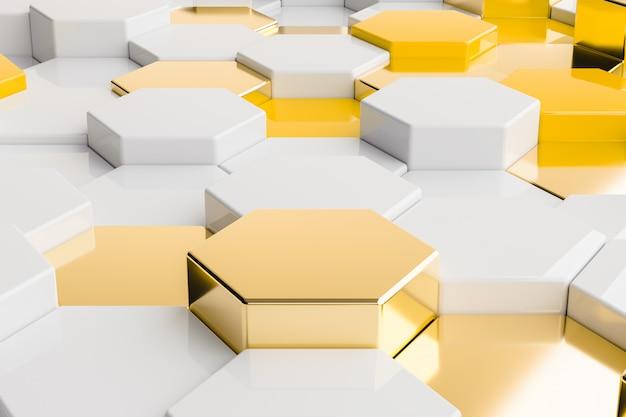 Шестиугольник желтое золото белый металлический фон