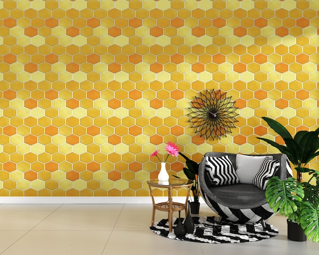 Hexagon yellow and orange tile texture wall background