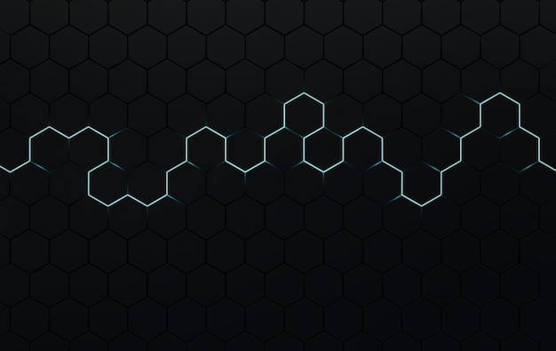 Hexagonal abstract background futuristic cellular 3d panel with hexagons and neon light