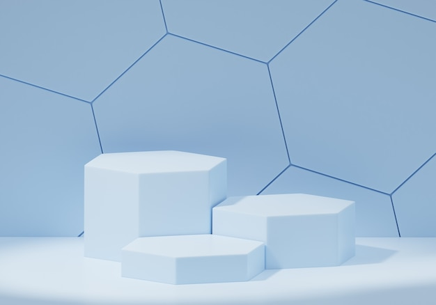 Hexagonal abstract blue geometric, podium for products, exhibitions, cosmetics, 3d render