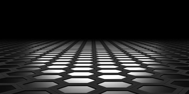 Hexagonal area hexagon nest abstract geometry hexagonal steel material technology floor sheet 3d illustration