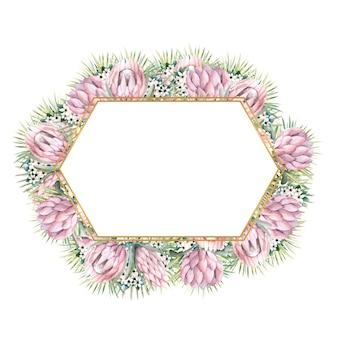 프로 테아 꽃, 열대 잎, 야자 잎, 부 바르 디아 꽃이있는 육각형 골드 프레임