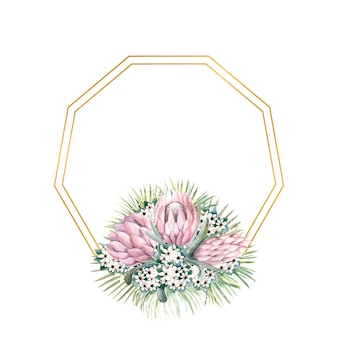 Hexagonal gold frame with protea flowers tropical leaves palm leaves bouvardia flowers
