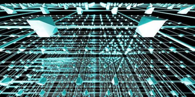 六角形のグリッド原子構造サイバーパンクスタイルのネオンライト3dイラスト