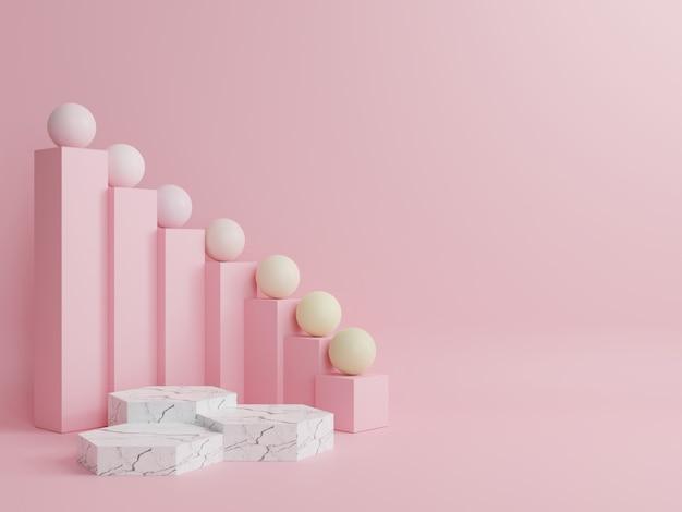 Гексагональный мраморный подиум с цветными полосами на спине с розовым фоном