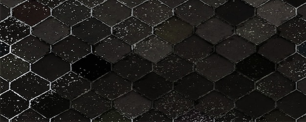 Hexagonal paver block. black rock texture. abstract of stone layers. nature background. 3d rendering.