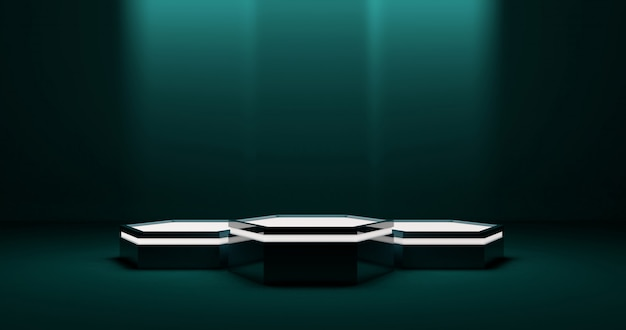 Гексагональная подиумная сцена для продукта, приглушенное освещение, технологическая среда