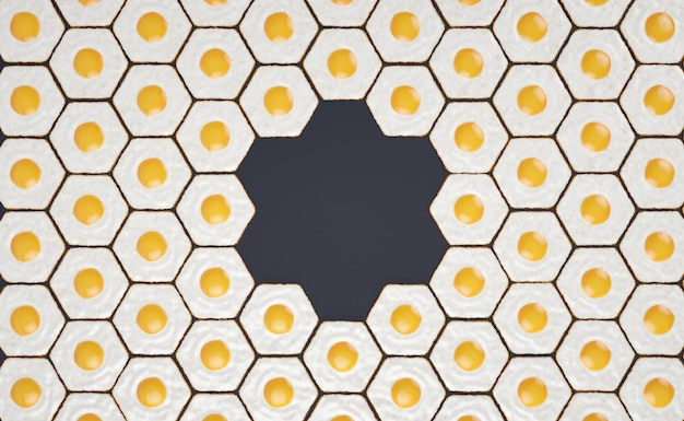 Hexagonal seamless pattern made of fried eggs, with space for titles #2