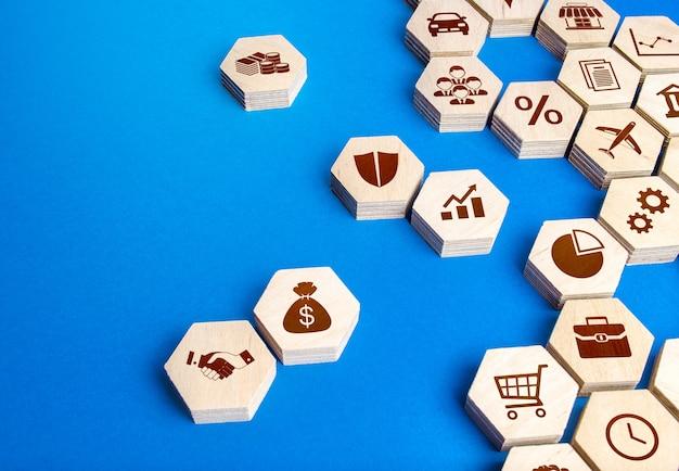 Шестиугольные формы с бизнес-атрибутами собраны в единую конструкцию