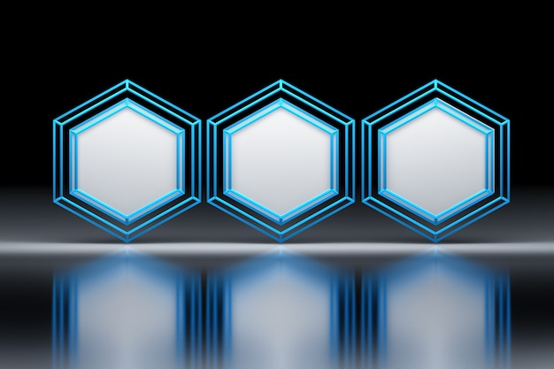 Hexagons with blue wireframe
