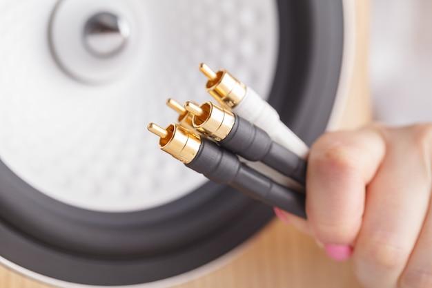 Hi-fi music cable in female hands