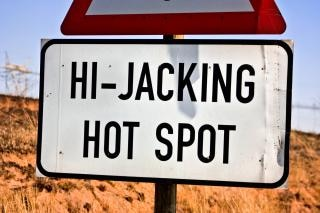 Hi jacking hotspot sign  jacking