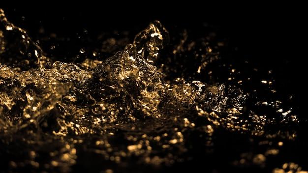 ディーゼルガソリンが飛散して空中に上昇する油液の高速クローズアップ画像