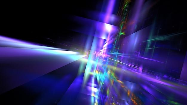 Hi tech digital interior abstract data center server, business technology blured polygonal geometric space, 3d render