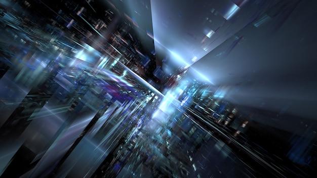 Высокотехнологичный цифровой интерьер абстрактный сервер центра обработки данных, бизнес-технологии размыли полигональное геометрическое пространство, 3d-рендеринг
