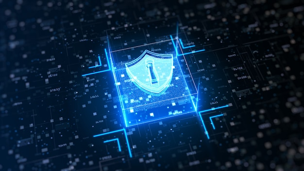 Hi-tech shield of cyber security. digital data network protection
