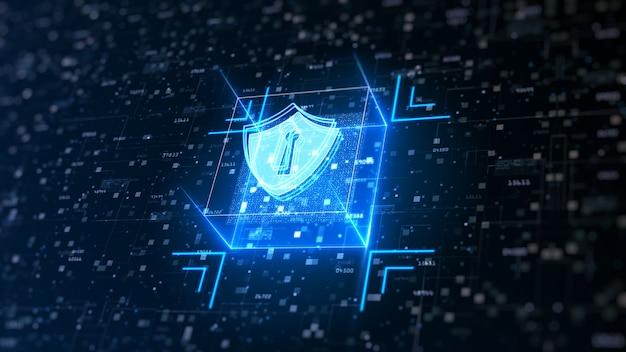 사이버 보안의 하이테크 방패. 디지털 데이터 네트워크 보호