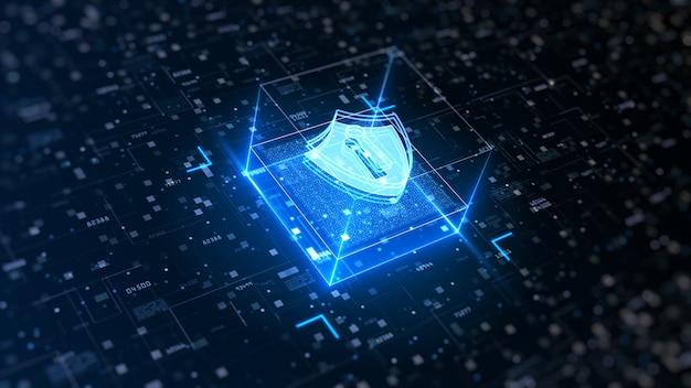 サイバーセキュリティのハイテクシールド。デジタルデータネットワーク保護