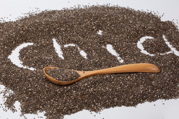 Ðâ¡hia word made from chia seeds on white background.