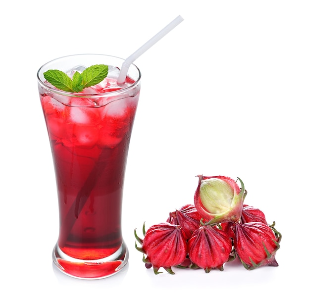 Hibiscus sabdariffa or roselle fruits and roselle juice isolated on white background