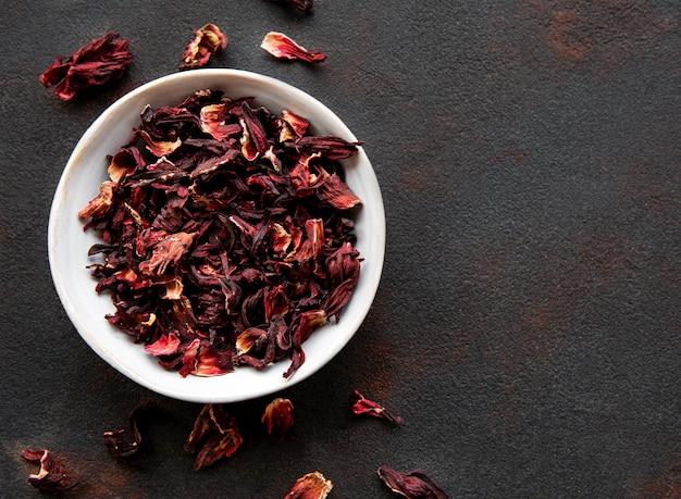 Hibiscus tea in white bowl