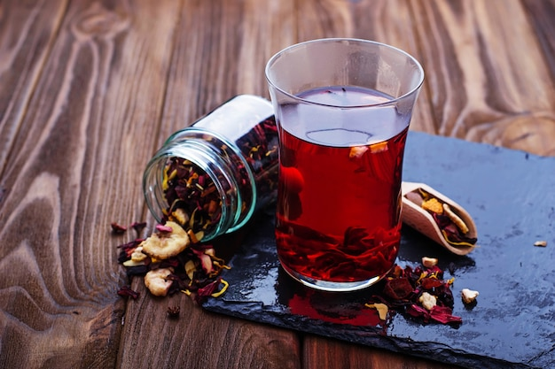 Hibiscus tea with dried fruit