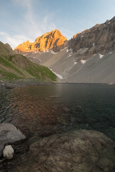 High altitude alpine lake in idyllic land once covered by glaciers