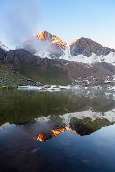 High altitude alpine lake in idyllic land with majestic rocky mountain peaks.