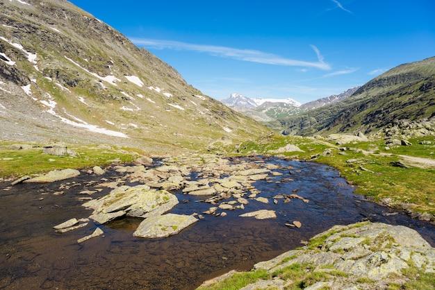 High altitude alpine stream in summertime