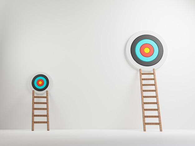 Высокая и низкая лестница наклонена к разной целевой доске на белом фоне, концепция проекта малого и большого бизнеса. 3d визуализация