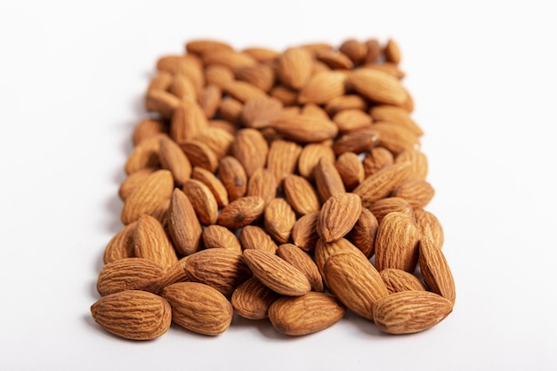 High angle of almonds in rectangular shape