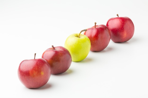 High angle apples aligned