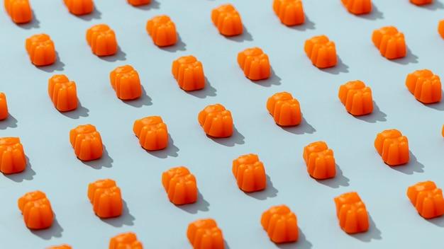 High angle arranged gummy bears