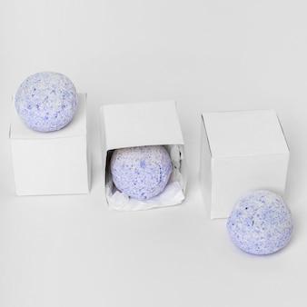 High angle arrangement of blue bath bombs