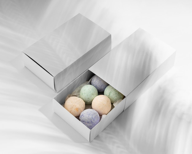 High angle arrangement of colorful bath bombs