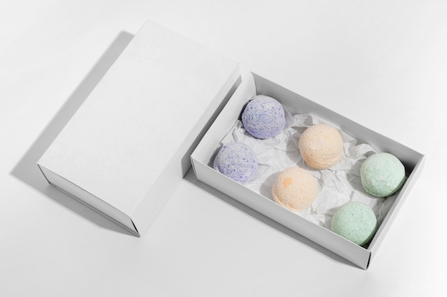 High angle arrangement of different colored bath bombs