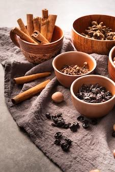 High angle arrangement with bowls and cinnamon sticks