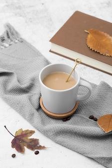 High angle arrangement with mug of coffee