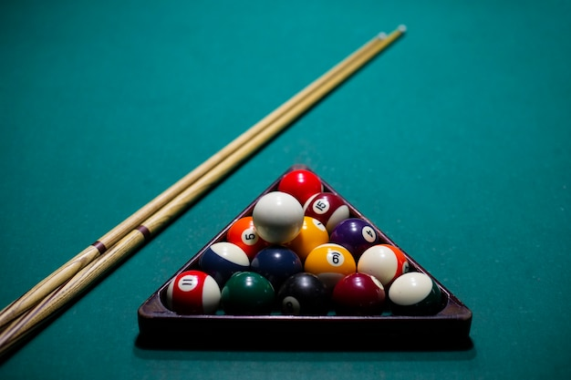 High angle arrangement with pool balls and cues