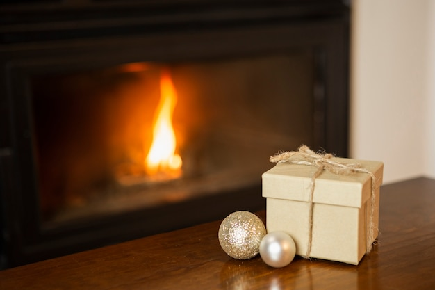 High angle arrangement with present near the fireplace