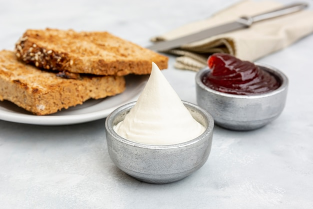 High angle arrangement with sauces and toast