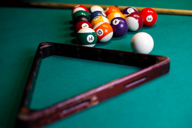 High angle arrangement with triangle and pool balls