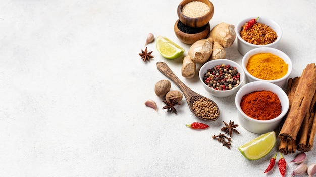 High angle asian food ingredients with copy space