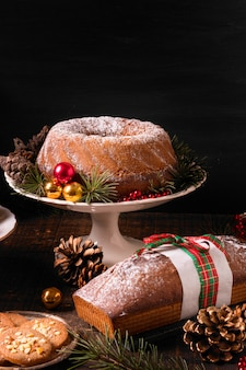 High angle of assortment of christmas cakes with copy space