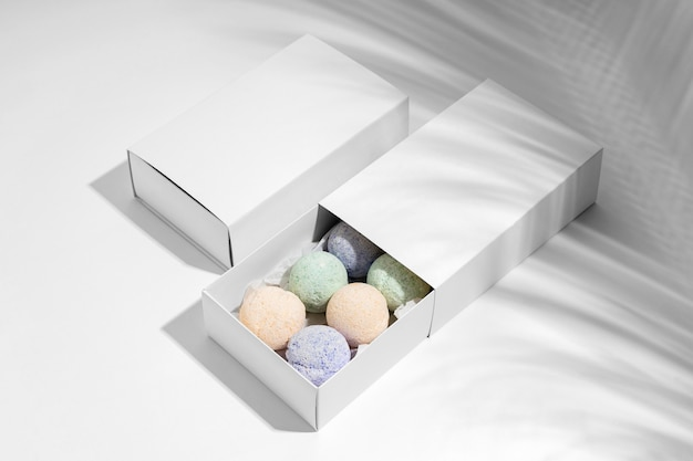 High angle assortment of different bath bombs