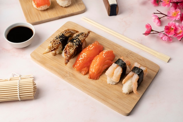 High angle assortment of sushi goodies