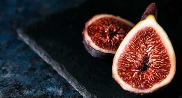High angle of autumn figs in half